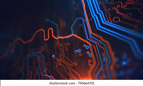 Technology Terminal Background. Orange, yellow, blue, background with digital integrated network technology. Printed circuit board. Circuit board futuristic server code processing. PCB, Code, HTML.