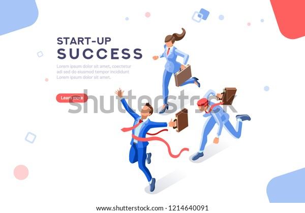 Technologiewandel vom digitalen Erfolg zum Einkommen. Fantasie und Innovation, Startplan. Erwachsene gewinnen im Raum. Konzept mit Zeichen mit Text. Flache isometrische Abbildung