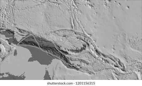 Tectonic plates borders on the bilevel elevation map of areas adjacent to the North Bismarck plate area. Van der Grinten I projection (oblique transformation). 3D illustration