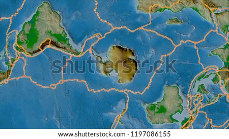 Tectonic Plates Borders On Physical Map Stock Illustration ...