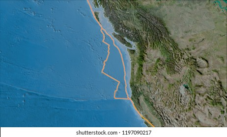 Tectonic plates borders on the satellite B map of areas adjacent to the Juan De Fuca plate area. Van der Grinten I projection (oblique transformation)