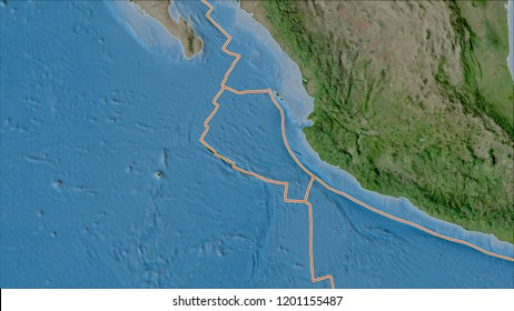 Tectonic plates borders on the satellite A map of areas adjacent to the Rivera plate area. Van der Grinten I projection (oblique transformation). 3D illustration