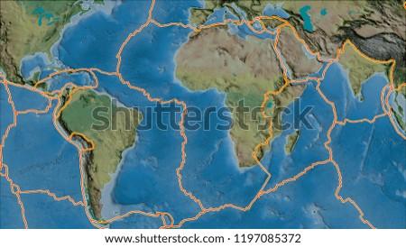 Tectonic Plates Borders On Topographic Map Stock Illustration