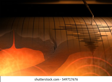 Tectonic plates and Seismograph - 3D Rendering