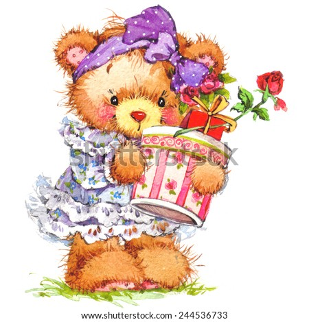 Teddy bear flower background greetings cards stock illustration teddy bear and and flower background for greetings cards watercolor illustration m4hsunfo