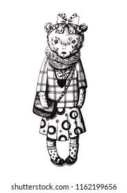 Teddy bear girl. Hand drawn illustration