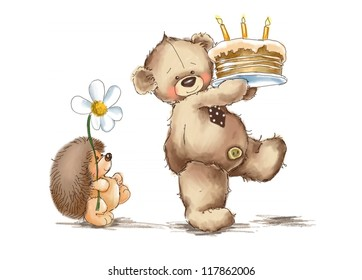 Teddy bear and hedgehog. Birthday cake.