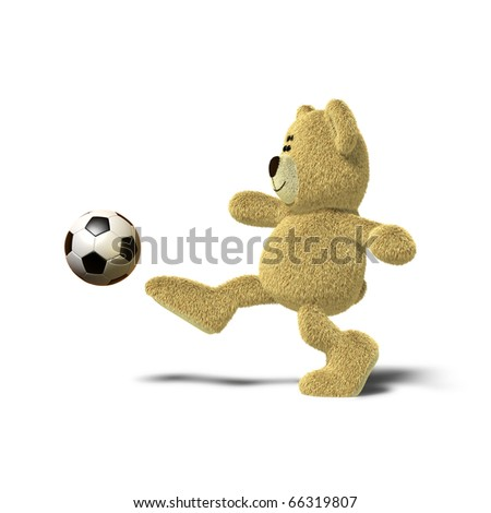 6b610859 A teddy bear is kicking a soccer ball up into the air with his right leg