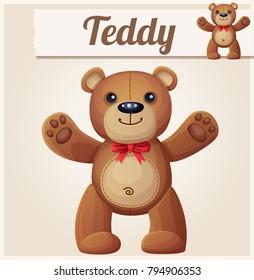 Teddy bear love hugs. Cartoon illustration.