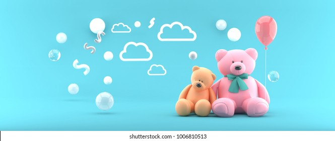Teddy Bear Orange and Pink and Balloon on Blue Sky 3d render.