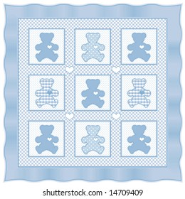 Quilt Teddy Bears Big Hearts Old Stock Illustration - Royalty Free