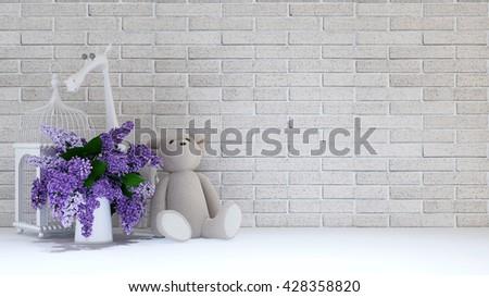 Teddy Bear Vase Purple Bird Cage Stock Illustration 428358820