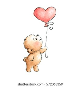 teddy bears with heart balloon drawn in ink and watercolor