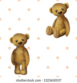 Teddy bears seamless pattern, background design, universal and classic backdrop for tiny boys and girls