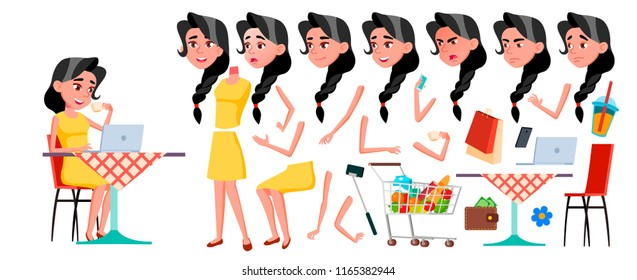 Teen Girl. Animation Creation Set. Face Emotions, Gestures. Face. Children. Animated. For Advertising, Booklet Placard Design Cartoon Illustration