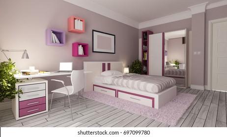teen girl bedroom interior design idea 3D rendering