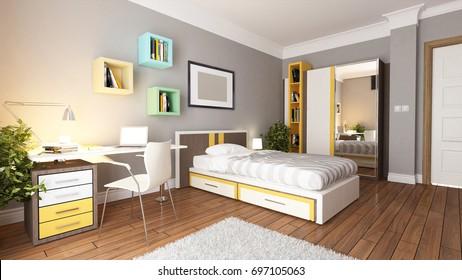 teen young bedroom interior design idea 3D rendering