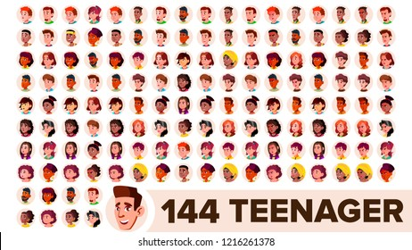 Teenager Avatar Set. Girl, Guy. Multi Racial. Face Emotions. Multinational User People Portrait. Male, Female. Ethnic. Modern Default Placeholder Icon. Flat Illustration