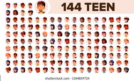 Teenager Avatar Set . Girl, Guy. Multi Racial. Face Emotions. Multinational User People Portrait. Male, Female. Ethnic. Icon Asian African European Arab Flat Illustration