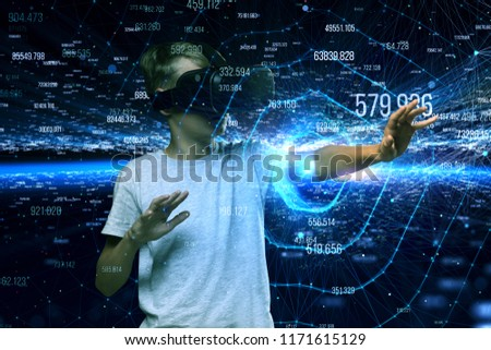 Teenager Boy Interacts Virtual Reality V Rtechnology Stock