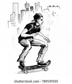 Teenager on a skateboard