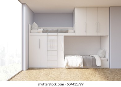 Teenager room interior with a bunk bed and a window. There are white closets above the bed. 3d rendering, mock up