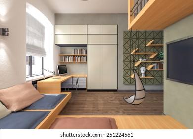 Teenager's room 3d rendering