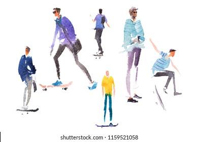Teenagers skate on skateboards summer outdoor activities