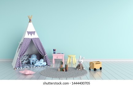 Teepee in child room interior for mockup, 3D rendering