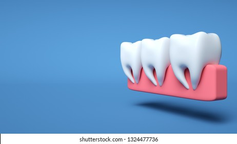 Teeth In Gums Isolated On The Blue Background. Dental And Medicine Concept - 3D Illustration