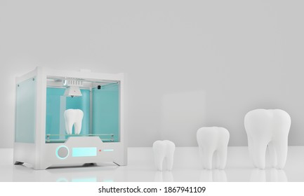 Teeth made with 3d printer. The theet are from small to large size and are over a with table next to 3d printer. 3D rendering