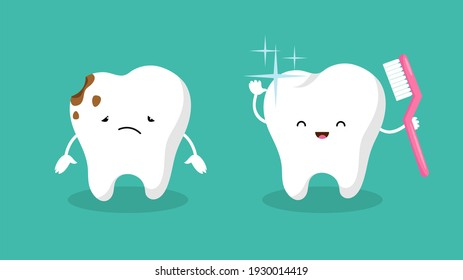 Teeth. Plaque terth, shiny white tooth. Mouth hygiene and toothache. Dental happy and sad characters
