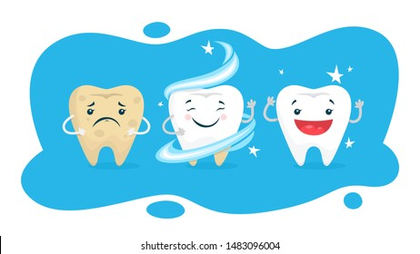Teeth whitening concept. Tooth become white in dental clinic. Protection and treatment concept. flat illustration