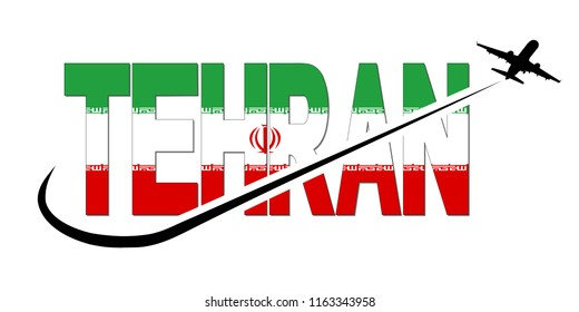 Tehran flag text with plane silhouette and swoosh illustration