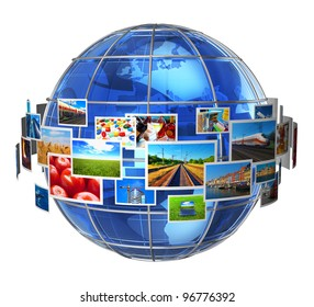 Telecommunication and media technologies concept: cloud of colorful phots around blue glass Earth globe isolated on white background