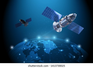 Telecommunication technology concept with 3d rendering satellite dish connection with world graphic