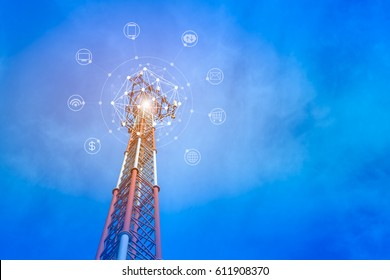 Telecommunication tower on blue sky background with icon of internet, e-mail, cloud technology, smart phone, computer, wireless signal and banking. The concept of connecting to online service