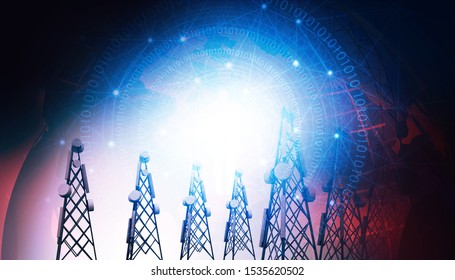 Telecommunication towers on abstract world background. 3d illustration