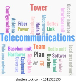 Telecommunication word cloud. Wordcloud made with text only.