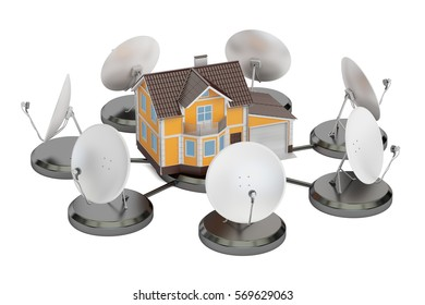 Telecommunications concept. Satellite dishes with house, 3D rendering isolated on white background