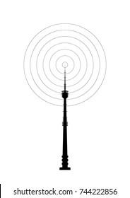 Telecommunications tower icon. Radio or mobile phone base station.
