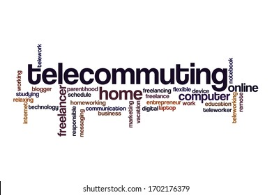 Telecommuting word cloud concept on white background