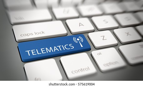 TELEMATICS button or key on computer keyboard. 3d Rendering