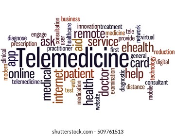 Telemedicine, word cloud concept on white background.