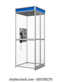 Telephone Booth Isolated. 3D rendering