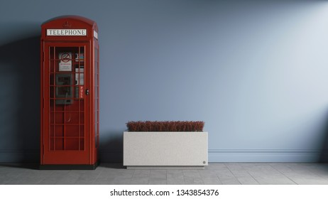 Telephone booth near the wall. Concept art Telephone booth. Classic red telephone booth on blue wall. Telephone booth in blue room. 3d illustration.