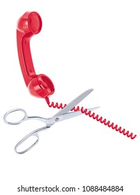 Telephone cord being cut by scissors isolated on white. Realistic 3d illustration