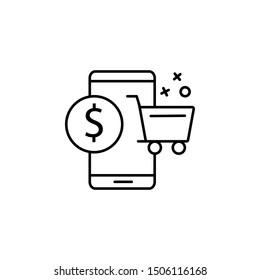 Telephone dollar commerce icon. Element of online shopping icon