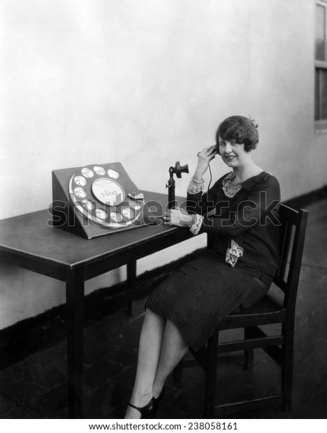 Telephone with a large rotary dial ca 1927