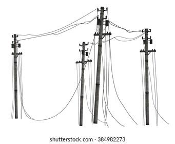 Telephone poles isolated